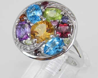 Blue Topaz, Amethyst, Garnet, Peridot, Citrine and Diamond Cluster Multi Color Gemstone Ring set in 14K White Gold Size 6.75