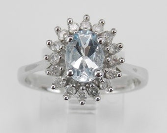 Diamond and Aquamarine Halo Engagement Ring White Gold Size 7 March Birthstone