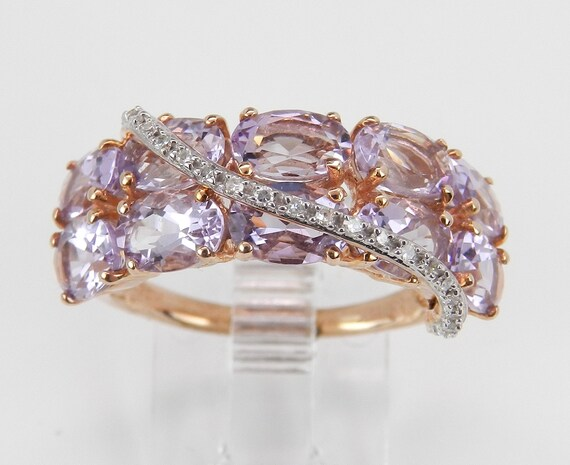 3.60 ct Diamond and Amethyst Anniversary Ring Band Rose Pink Gold Size 7.25