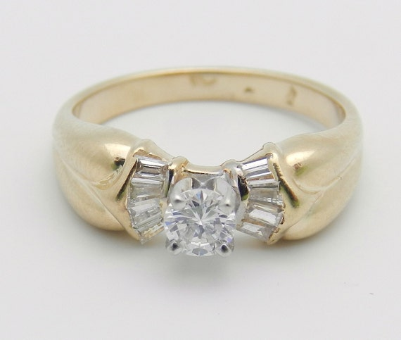 Diamond Engagement Ring 14K Yellow Gold Round and Baguette Size 6