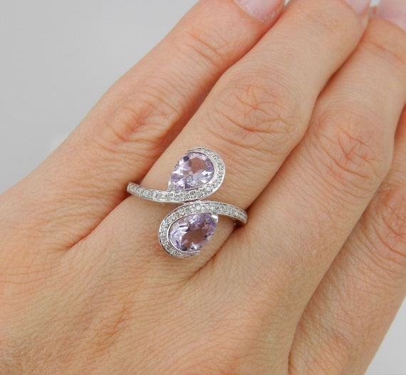 Diamond and Amethyst Cocktail Bypass Ring White Gold Size 7 February Birthstone