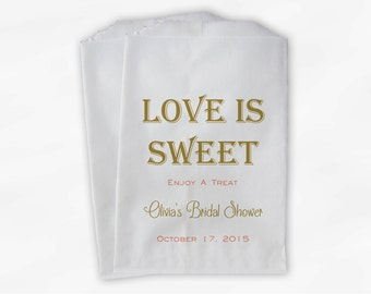 Love Is Sweet Bridal Shower Candy Buffet Treat Bags - Personalized Favor Bags in Gold and Coral - 25 Custom Paper Bags (0069)