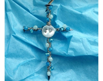 Handmade Beaded Cross with Stamp Initial and Heart; Monogrammed Rear View Mirror Hanger, Personalized Ornament