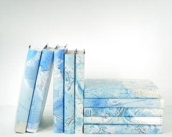 Old Book Decor, Decorative Books with Vintage Map Book Covers