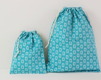 "Set of 2 Fabric Drawstring Bags (7x9"", 11x14"") / Aqua Blue Geometric"