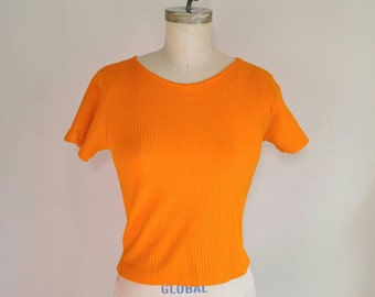 SALE // Hot Summer Orange Ribbed 90s Crop Top - Small