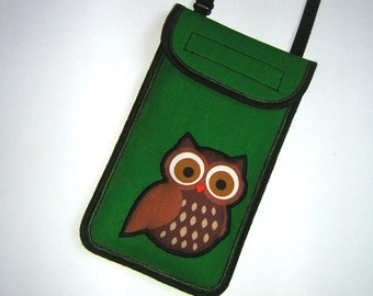 iPhone 6 Plus Case owl Phone Cover Crossbody Cellphone Purse cute mobile bag Fabrics Small Sling Bag with 2D Owl in green-brown-black