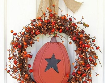 Fall Pip Berry Wreaths - Wood Pumpkin & Rusty Tin Star Berry Wreath - Primitive Wreath - Primitive Fall Wreath - Halloween Wreath
