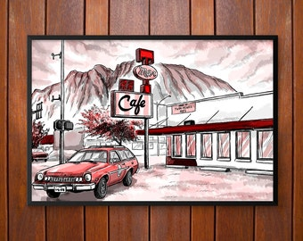 The Double R Diner, Twin Peaks Illustration Poster or Framed Print