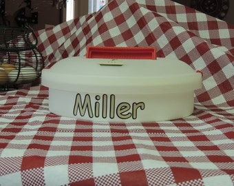 Pie carrier, cupcake holder, picnic food carrier, cookie carrier, personalized party food carrier