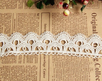 "10 yard 4cm 1.57"" wide ivory cotton scallop embroidered lace trim ribbon tapes h6t5 free ship"