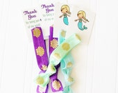 Mermaid Party Favor, Hair Tie with Gift Tag, under the sea, dingle hopper, little,  shell print hair ties, let's be mermaids, mermaid gifts