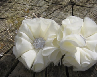 Ivory bridal hair accessory,diamante and crystal wired spray, wedding,luxury,bridesmaid,flowergirl, birthday, special occasion, party, gift