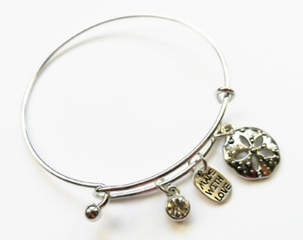Sand Dollar Charm Bangle, Sand Dollar Silver Charm Cuff Bracelet Perfect For Women Teens and Girls!
