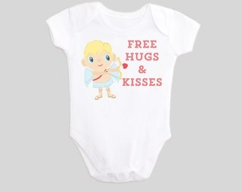 Cupid Shirt Free Hugs & Kisses Valentine's Day Shirt Baby Outfit Happy Valentine's Day One Piece Bodysuit Infant Toddler