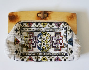 Vintage Clutch, Embroidered, Wood Handle + Clasp