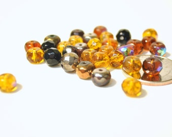Acrylic Beads - 12 Piece Mixed Browns and Black