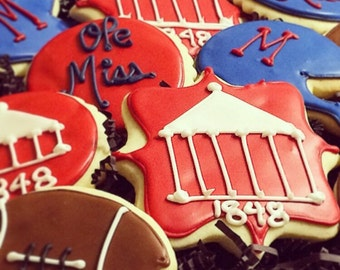 Ole Miss Assorted Sugar Cookies Iced Decorated Birthday Tailgating Favors