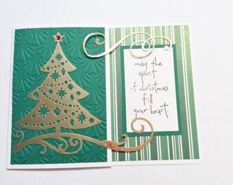 Christmas Card, Handmade, Green, White, Gold, Gold Christmas Tree