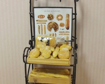 Dollhouse 1:12 OOAK Luxury Bakery Shop / Deli Bread Rack - Display Shelf