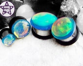 "Chromatic Death Plug / Gauge Blue Rainbow Colour Flash Faux Dichro Dichroic 4g, 2g, 0g, 00g, 7/16"" / 5mm, 6mm, 8mm, 10mm, 11mm"