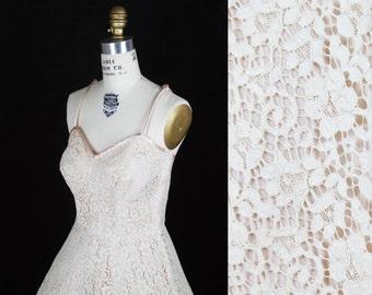 1950s Dress // Ecru Lace Full Skirt Possible Wedding Dress