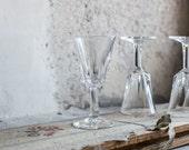 Cut Glass Dessert Wine Drinking Glasses, Set of 6 French Stemware