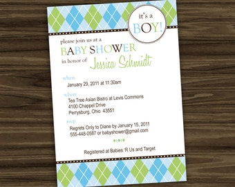 Argyle Baby Shower Invitation - Personalized - Printable Digital File - Color Options