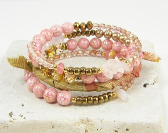 Pink Wrap Bracelet, Pink Multi Strand Bracelet, Pink Bronze Beaded Bangle Silk Ribbon Bracelet Memory Wire Wrap Bracelet |BC2-13