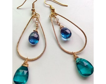 Lagoon Blue and Turquoise Quartz 14k Gold Filled Hoop Dangle Earrings/ Boho Chic Teal and Azure Blue Gold Earrings