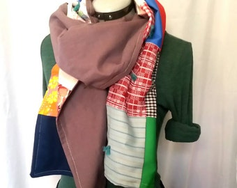 Colorful upcycled vintage patchwork cotton scarf