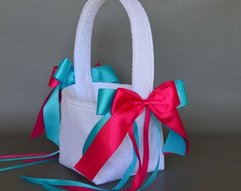 White lace wedding flower girl basket with light turquoise and hot pink fuchsia ribbons