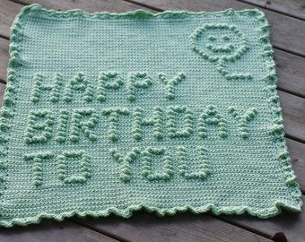 Happy Birthday Crochet Baby Blanket Pattern - Baby Blanket Pattern - Blanket Pattern