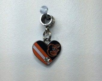 MLB Baltimore Orioles heart charm
