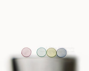 Abstract Circles Photo, Minimalist Photo, Colored Straws on White, Still Life Photo, Canvas Gallery Wrap