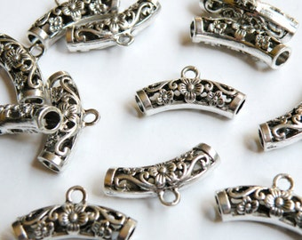 5 Floral Curved Tube Bails with large 4mm tube antique silver European charm beads 25x13x7mm PL155