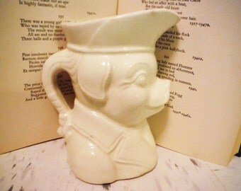 Patriotic pig creamer vintage ceramic anthropomorphic colonial decor