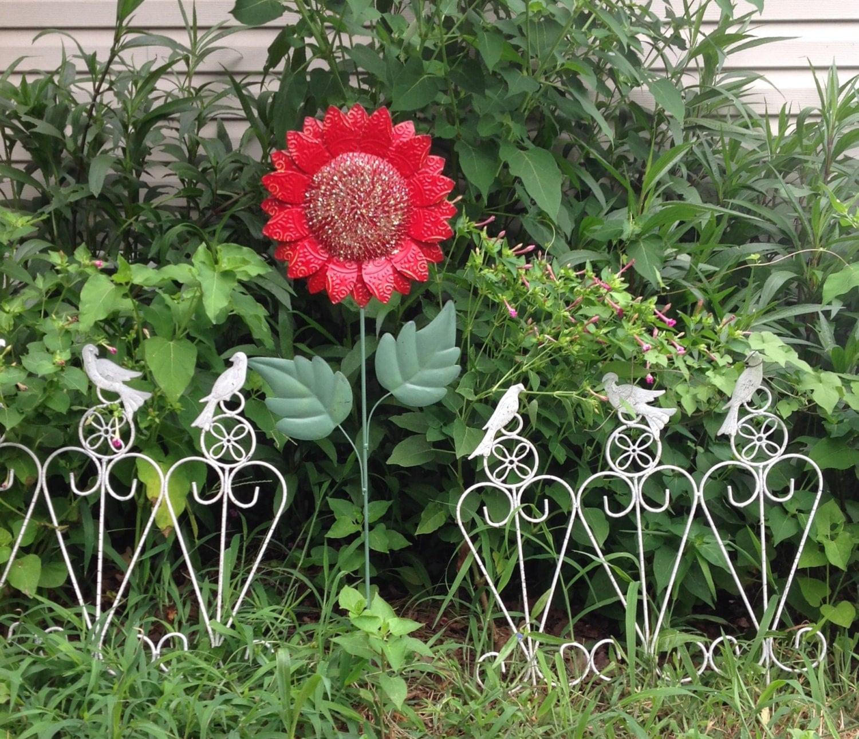 Large Red Flower Garden Stake 39 Tall Metal Yard Art