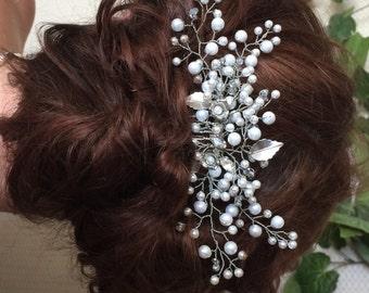 Bridal Hair Comb with Swarovski Pearls, Bridal Headpieces, Bridal Hair Accessory, Bridal Haircomb