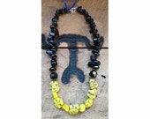 Black nugget and Yellow magnesite beaded necklace