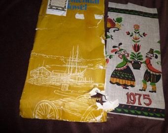 Calendar Vintage 1975 Linen Towel with Original Package