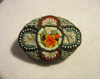 Vintage Micro Mosiac Flower Brooch made in Italy