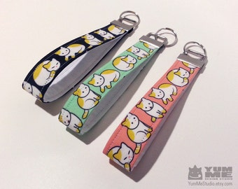 Cute Cats Key Chain Wristlet Key Fob Pink Green or Black (Made to Order)
