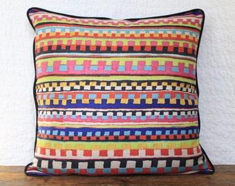 Multicolored stripe 20 x 20 inch pillow cover