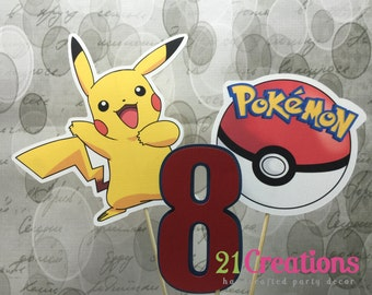 Pokemon Cake Topper or Centerpiece Inserts - set of 3