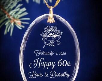 60th Wedding Bells Anniversary Christmas Ornament