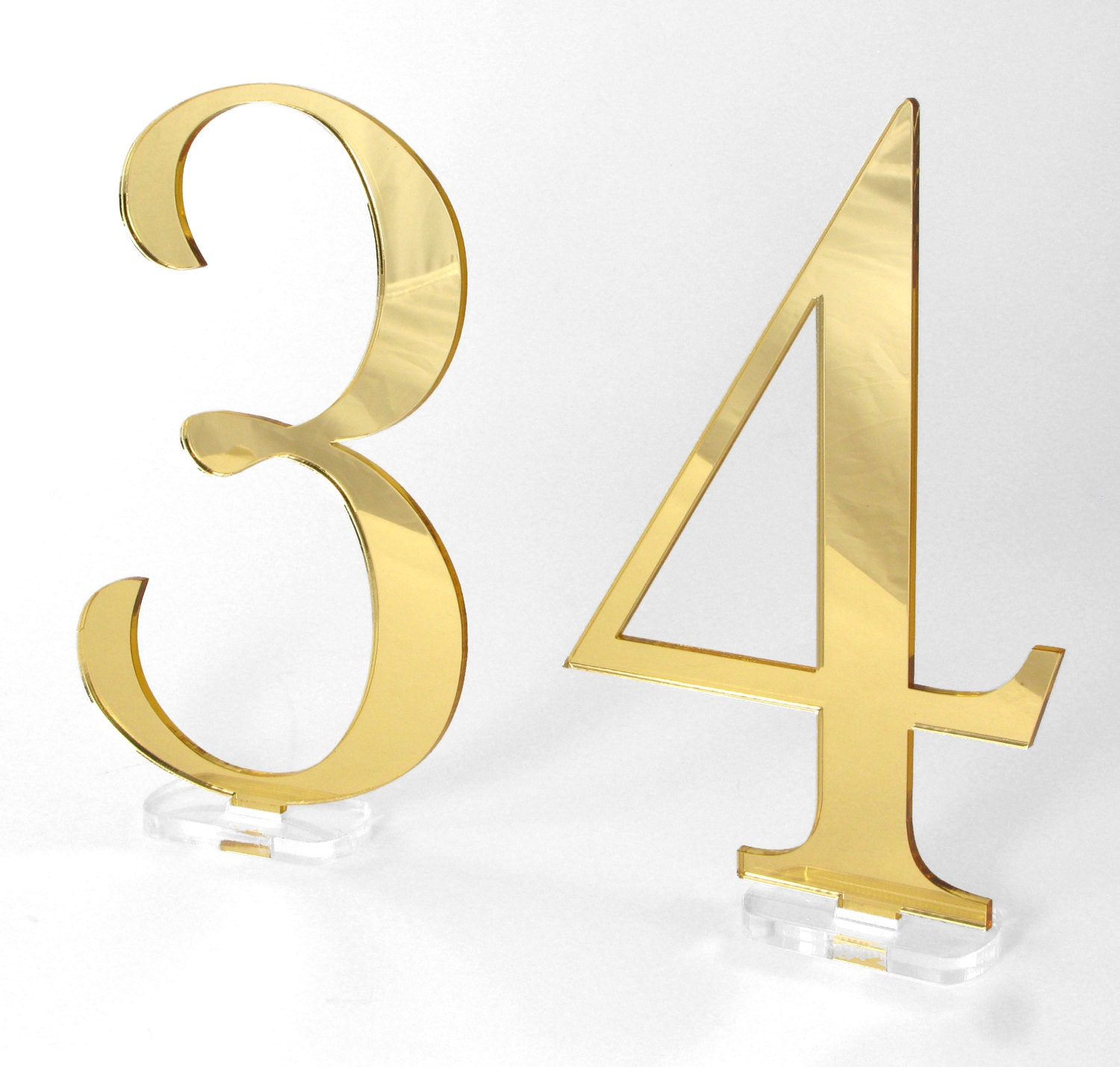 Inch tall gold mirror wedding table numbers acrylic for Tall gold mirror