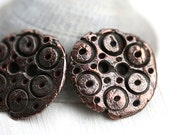 20mm Round Copper Buttons, Metal buttons, rustic greek casting beads, Lead Free - F391