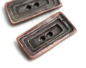 2pc Large Rectangle Buttons, Geometric Metal Copper buttons, rustic greek casting beads, Lead Free - F395
