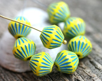 11mm Large bicones, Yellow with Blue stripes, czech Glass Fire polished beads, large tribal bicone beads - 8pc - 0191